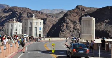 Pictured: The Hoover Dam road crowded with sightseers in Boulder Colorado.