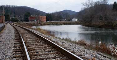 Pictured: Railroad tracks next to a river in Charleston West Virginia.