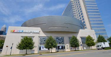 Pictured: The Nascar Hall of Fame building in downtown Charlotte North Carolina.