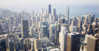 Pictured: An overhead view of downtown Chicago Illinois.