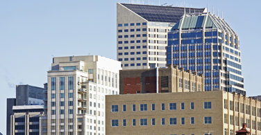 Pictured: Skyscrapers in downtown Indianapolis Indiana.