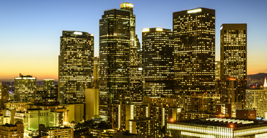 Pictured: A downtown cityscape of skyscrapers in Los Angeles California.