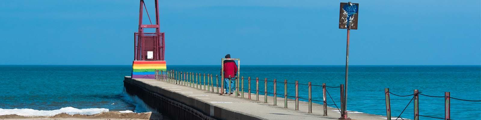 Pictured: An ocean pier in Michigan.
