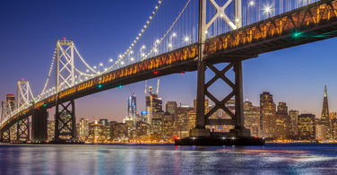 Pictured: The Oakland Bay Bridge at night.