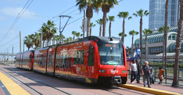 Pictured: The red tram in San Diego California.