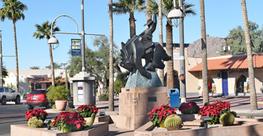 Pictured: The Jack Knife sculpture on Main Street in Scottsdale Arizona.