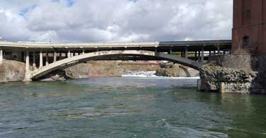 Pictured: A arch bridge over the Spokane River in Spokane Washington.