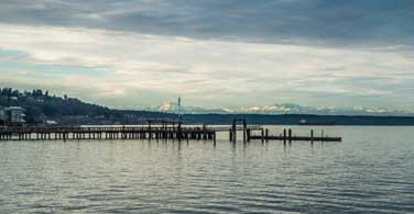 Pictured: A small pier on Commencement Bay in Tacoma Washington.