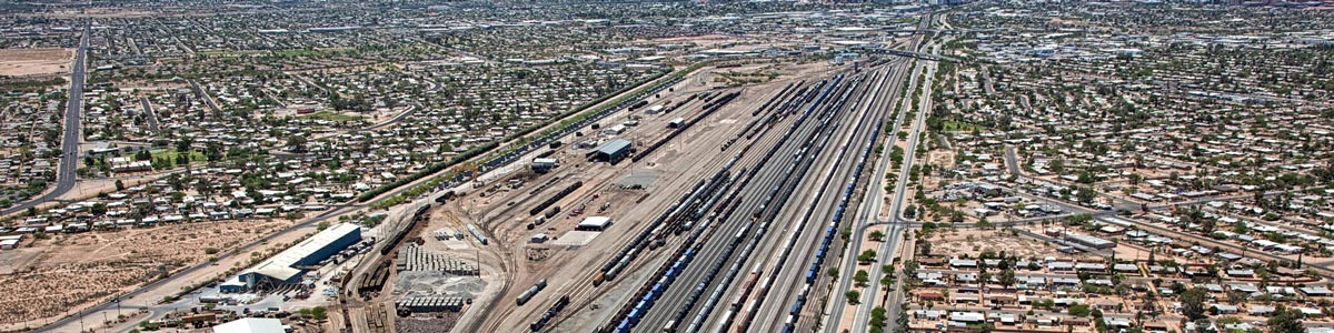 This is an aerial view of a train station. ASTA-USA provides professional translation services in this city.