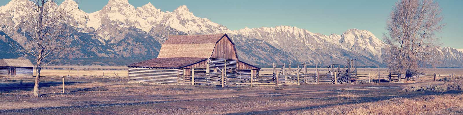 Pictured: A ranch and mountains in Wyoming.