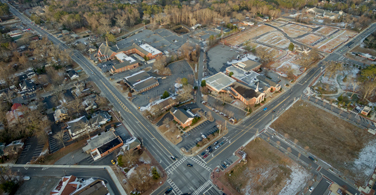 Pictured: An overhead view of downtown Alpharetta Georgia.