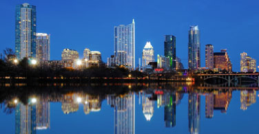 Pictured: A skyline of Austin Texas at night.