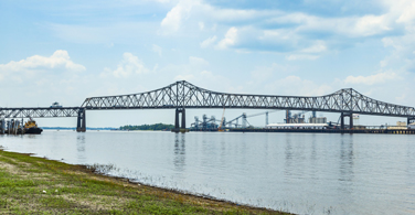 Pictured: The Mississippi River bridge in Baton Rouge Louisiana.