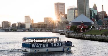 Pictured: A water taxi in the Patapsco River in Baltimore Maryland.