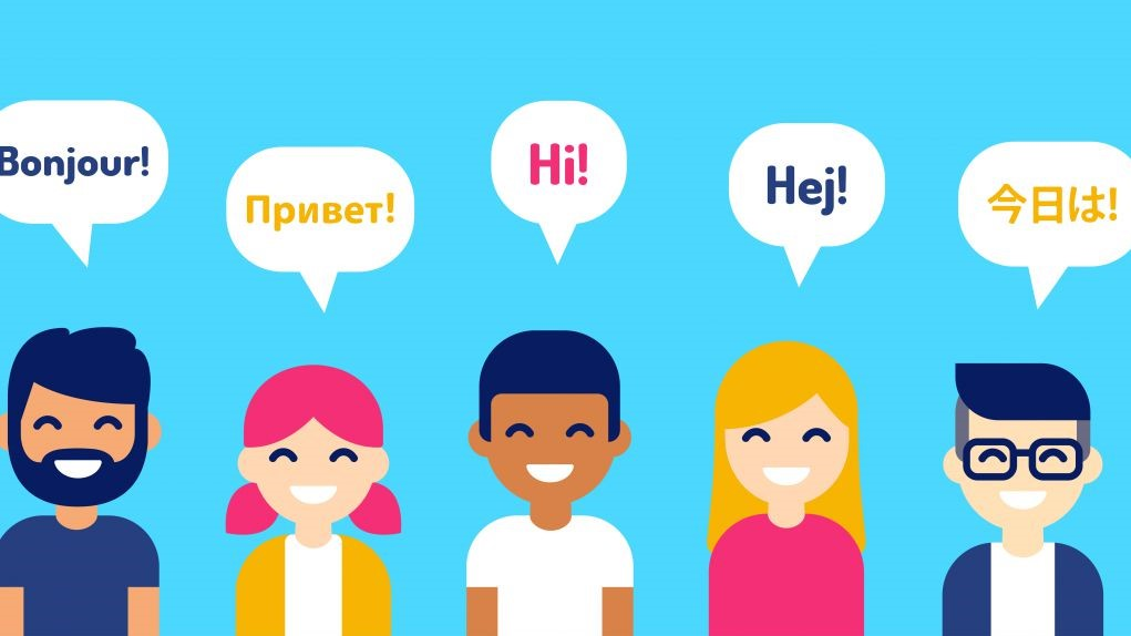 "This cartoon graphic shows people from different countries saying ""Hi!' in their language."