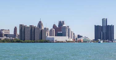 Pictured: A cityscape of downtown Detroit Michigan.