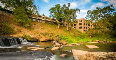 Pictured: The Reedy River at Falls Park in Greenville South Carolina.