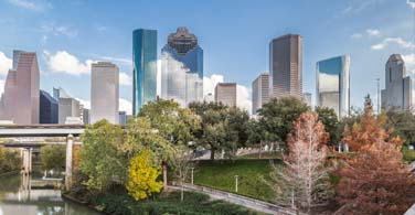Pictured: A daytime skyline of Houston Texas.