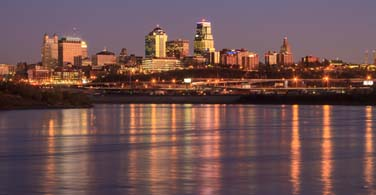 Pictured: A cityscape of Kansas City Missouri at night.