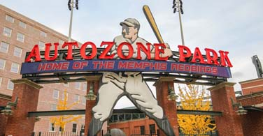 Pictured: Autozone Park baseball field in Memphis Tennessee.