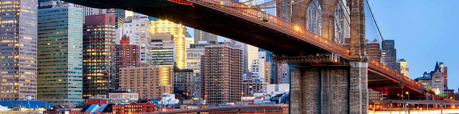 Pictured: A bridge and downtown New York City.
