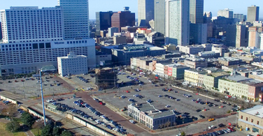 Pictured: A cityscape of downtown New Orleans Louisiana.