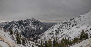 Pictured: A snowy mountain view in Provo Utah.
