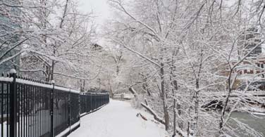 Pictured: A snowy walkway in Reno Nevada.