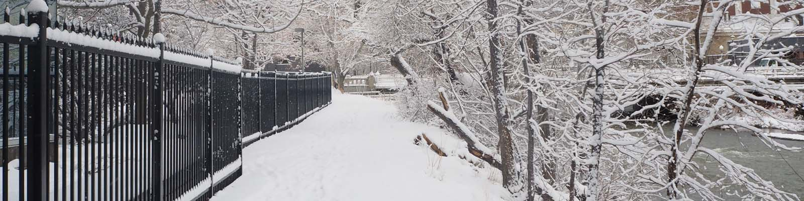 This is an image a snowy path in Reno. ASTA-USA provides professional translation services in this city.