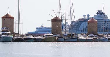 A bustling harbor