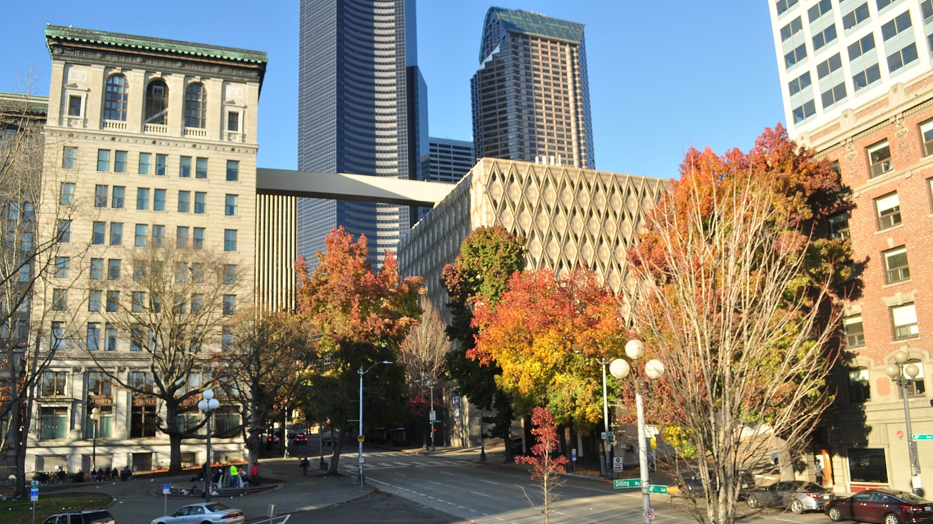 This image shows office buildings in downtown Seattle.