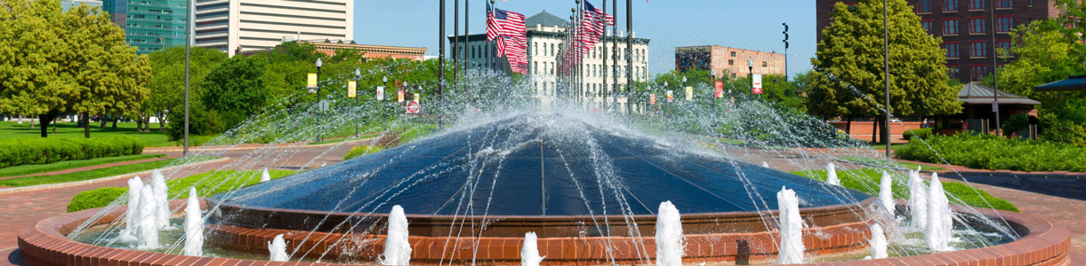 This is an image of a water fountain in Omaha, Nebraska where ASTA-USA provides professional translation services.