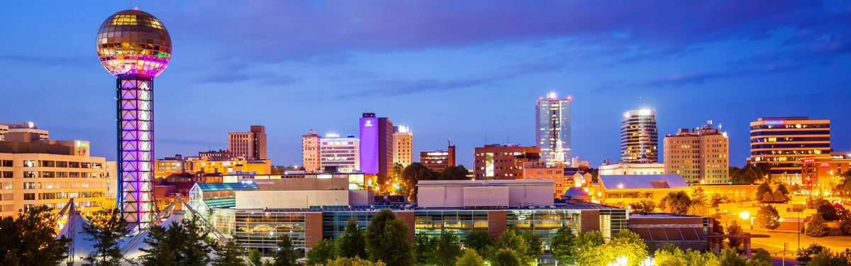 This is a night skyline of Knoxville where ASTA-USA provides professional translation services.
