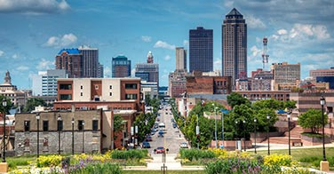 This is a picture of downtown Springfield Missouri on a clear day.